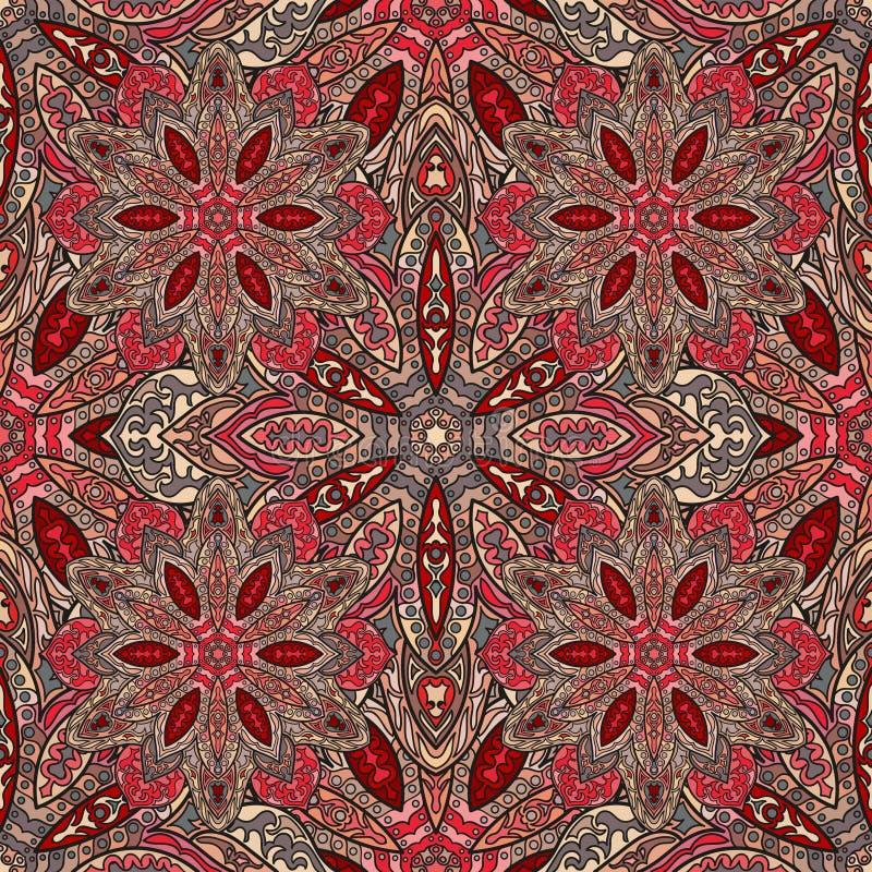 华丽花卉无缝的纹理,与葡萄酒坛场元素的不尽的样式 向量例证