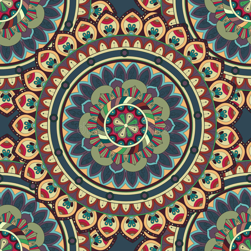 华丽花卉无缝的纹理,与葡萄酒坛场元素的不尽的样式 皇族释放例证