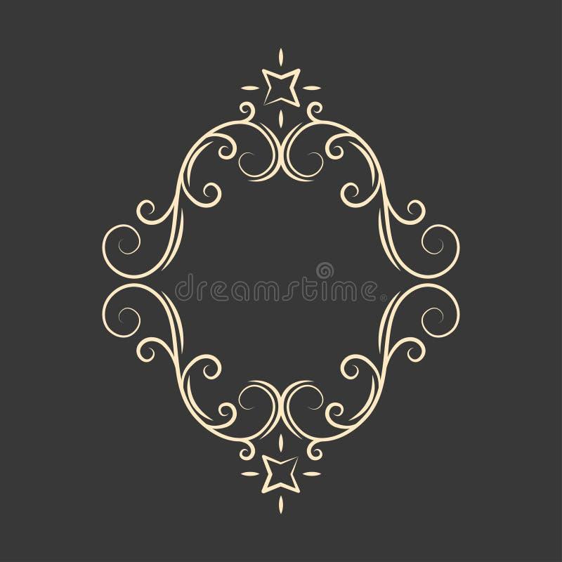 华丽装饰框架 Swirly线卷毛样式 贺卡,婚礼邀请,保存日期设计 向量 向量例证