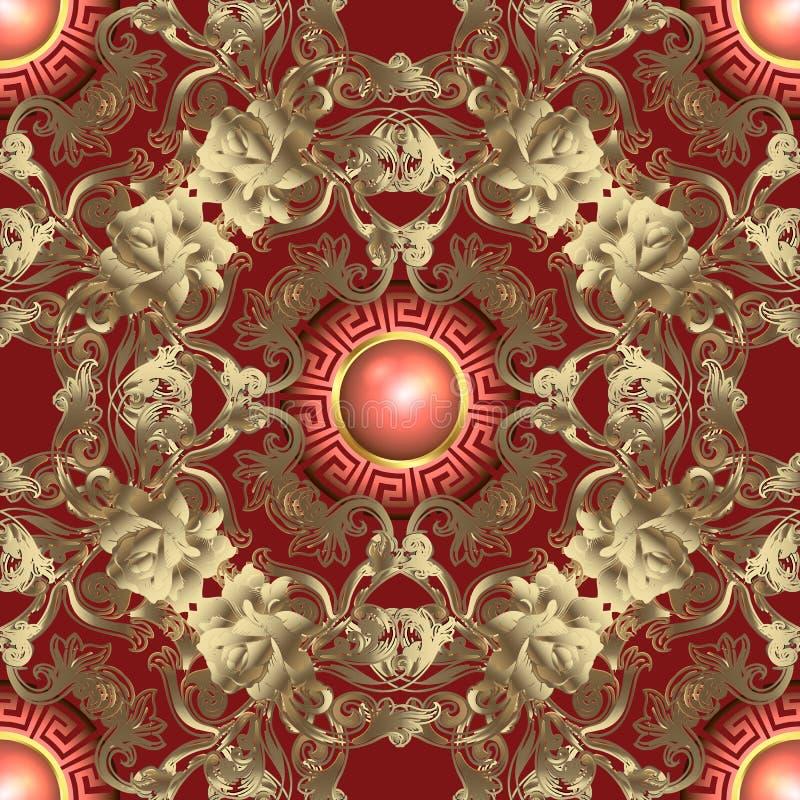 华丽金3d巴洛克式的无缝的样式 装饰传染媒介金黄玫瑰背景 希腊钥匙蜿蜒与圆的宝石的装饰品 皇族释放例证
