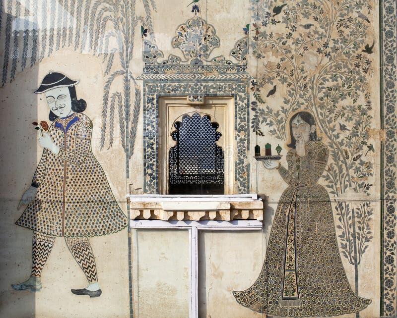 华丽门面在乌代浦市宫殿,拉贾斯坦,印度 库存照片