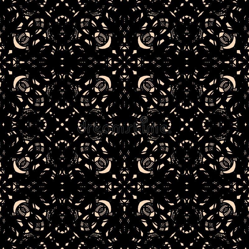 华丽黑凸花花边,鞋带无缝的样式传染媒介 向量例证