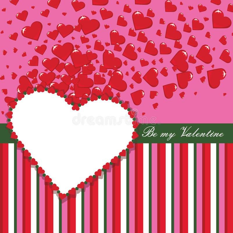华伦泰与心脏和小条的设计模板 库存例证