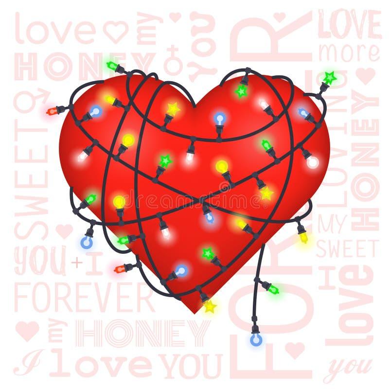 华伦泰与心脏和灯笼的礼品券 库存例证
