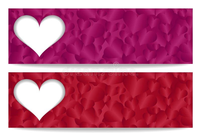 华伦泰与纸心脏和他的礼券 向量例证