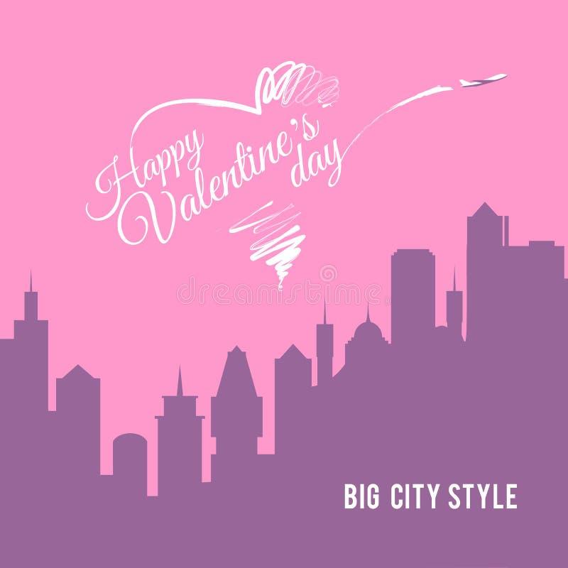华伦泰卡片与摩天大楼剪影的城市风景 库存例证
