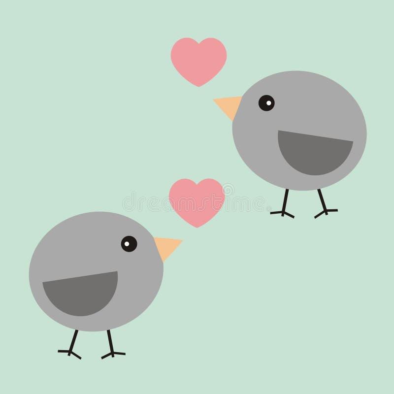 华伦泰在爱的卡片两鸟 免版税图库摄影