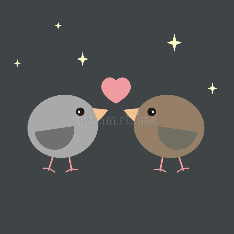 华伦泰在爱的卡片鸟在晚上 免版税库存图片