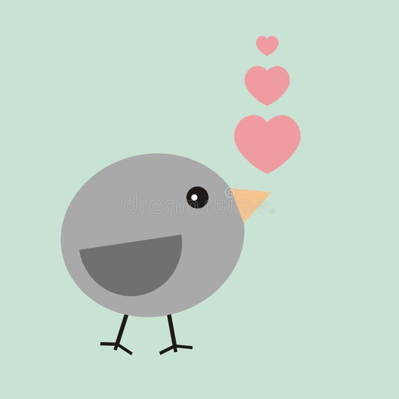 华伦泰在爱的卡片鸟 免版税库存图片