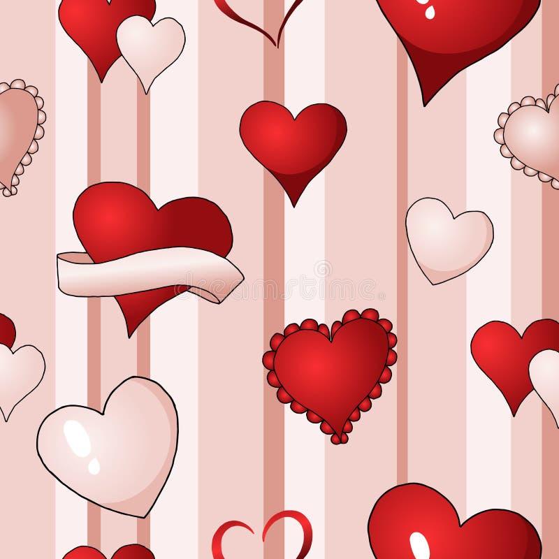 华伦泰心脏导航无缝的样式背景反复纺织品油漆 向量例证