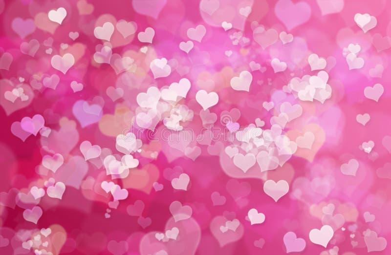 华伦泰心脏摘要桃红色背景:情人节墙纸 向量例证