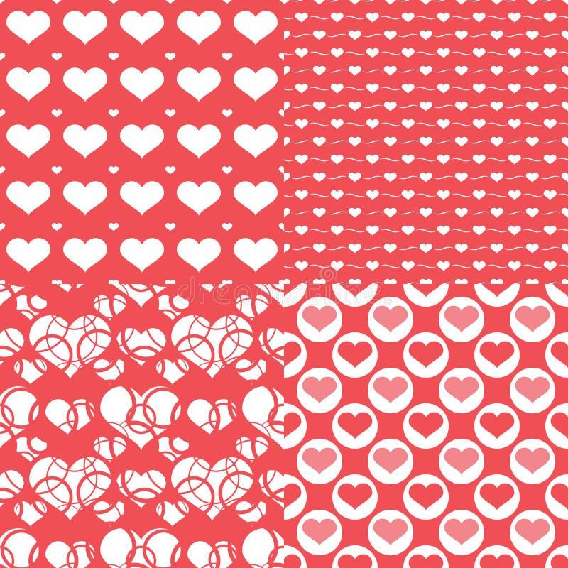 华伦泰心脏无缝的样式,抽象背景 向量例证