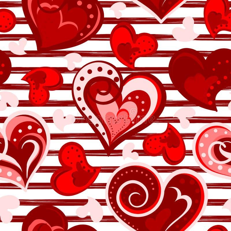 华伦泰心脏无缝的背景 向量 手凹道心脏,浪漫样式 库存例证