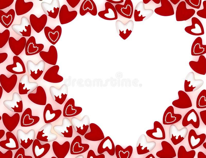 华伦泰心脏由许多小桃红色天鹅绒心脏做成 库存例证