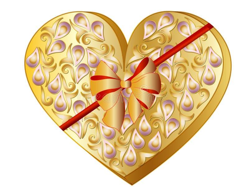 华伦泰心脏礼物盒 向量例证