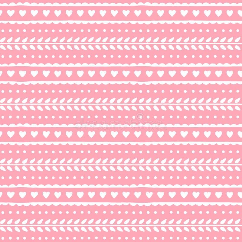 华伦泰或婚礼设计的逗人喜爱的可爱的无缝的样式 心脏和叶子在软的桃红色背景 最佳的下载原来的打印准备好的纹理导航 向量例证