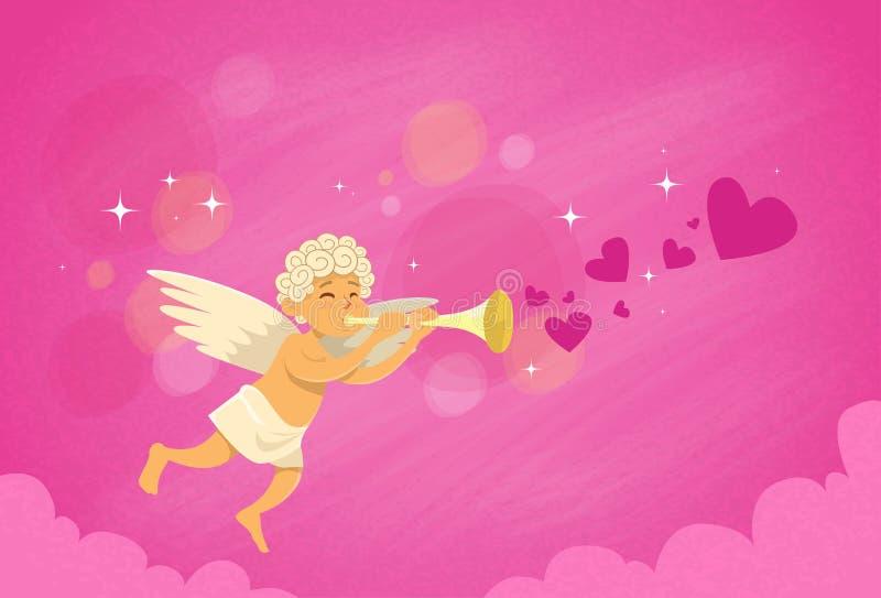 华伦泰的举行长笛圣徒华伦泰假日的天使丘比特 向量例证