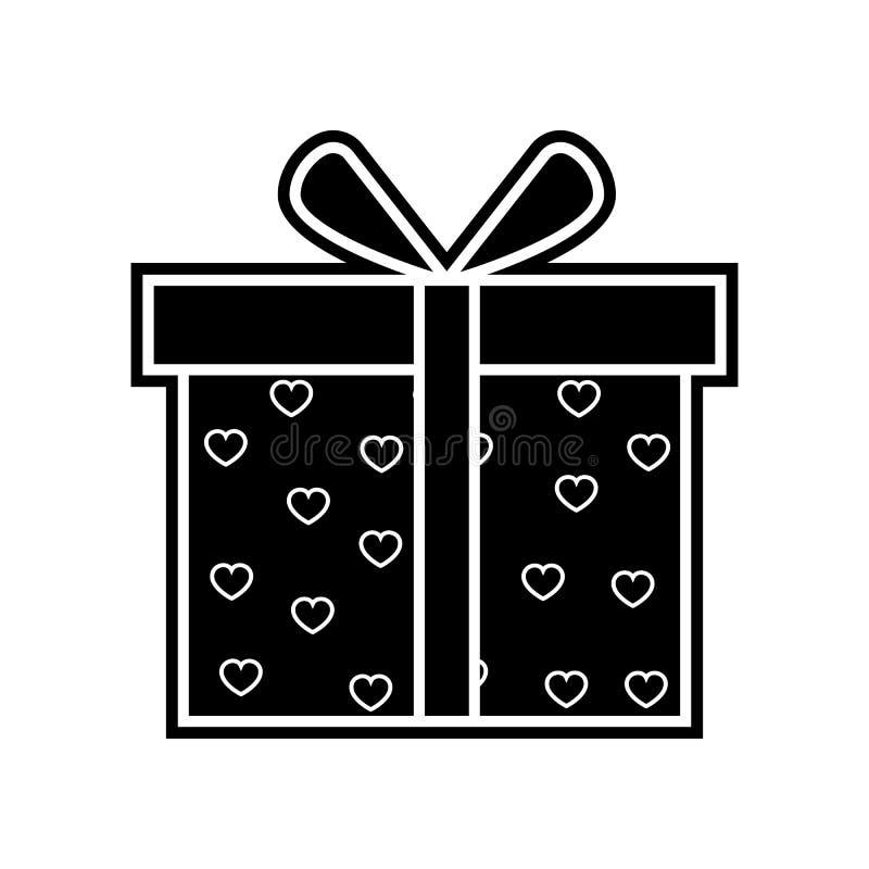 有心脏象的礼物盒 华伦泰的元素流动概念和网应用程序象的 r 向量例证