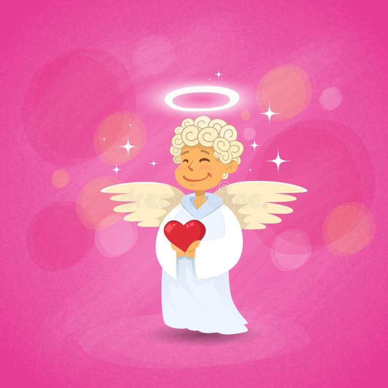 华伦泰的天使丘比特圣徒华伦泰假日 向量例证