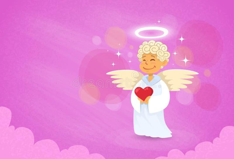 华伦泰的天使丘比特圣徒华伦泰假日 库存例证