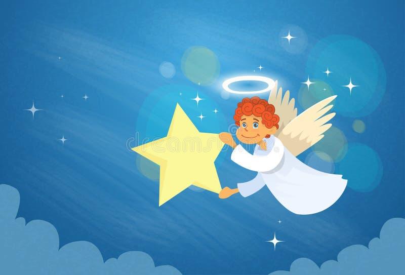 华伦泰的天使丘比特飞行天空举行星 向量例证