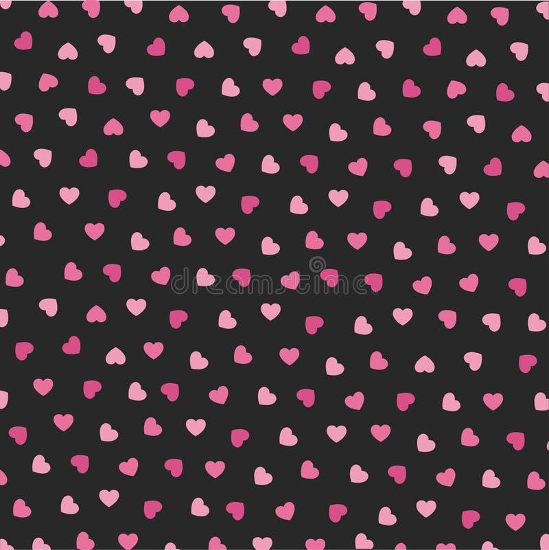 华伦泰的心脏象无缝的样式 库存例证