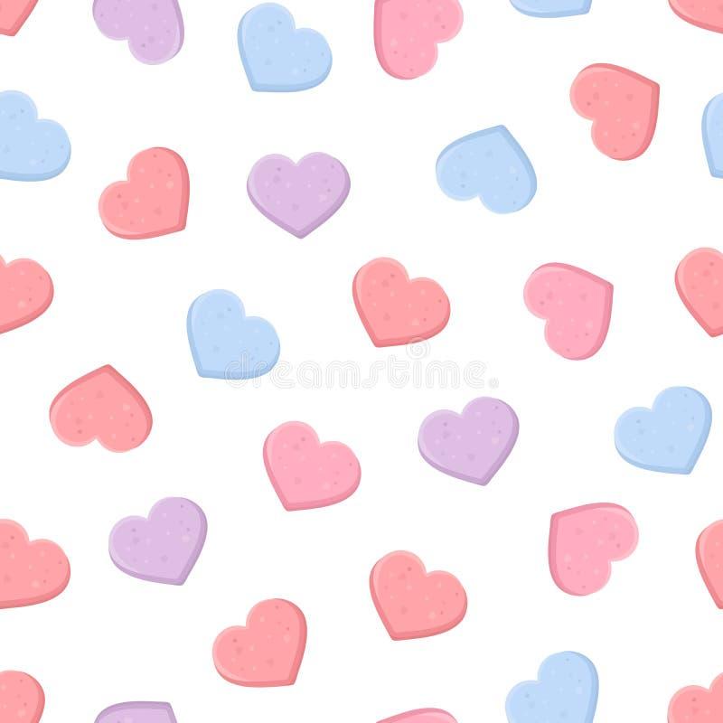 华伦泰的无缝的样式用五颜六色的甜心糖果 也corel凹道例证向量 库存例证