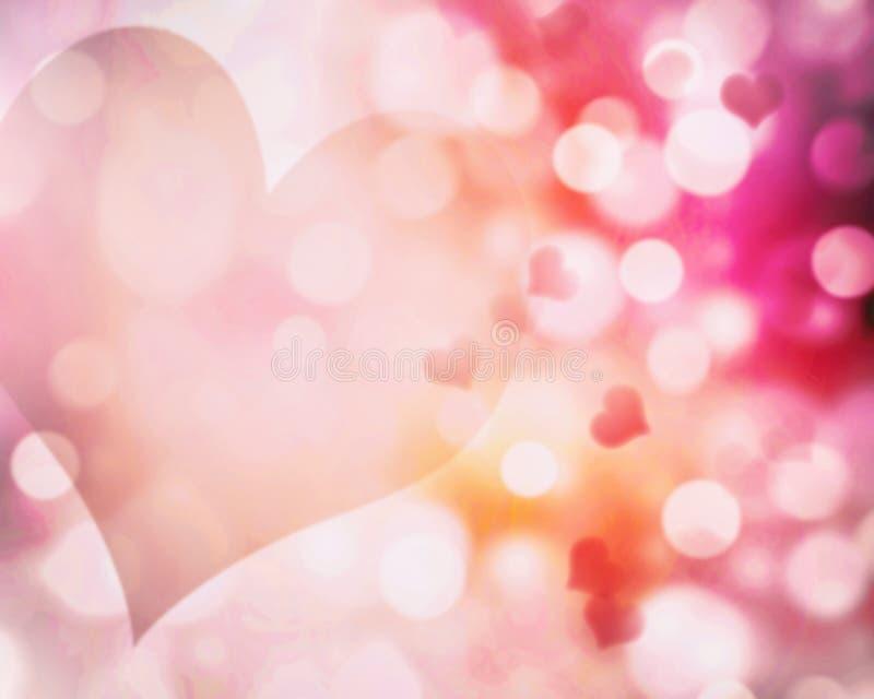 华伦泰的迷离桃红色心脏背景 抽象bokeh illustrat 皇族释放例证