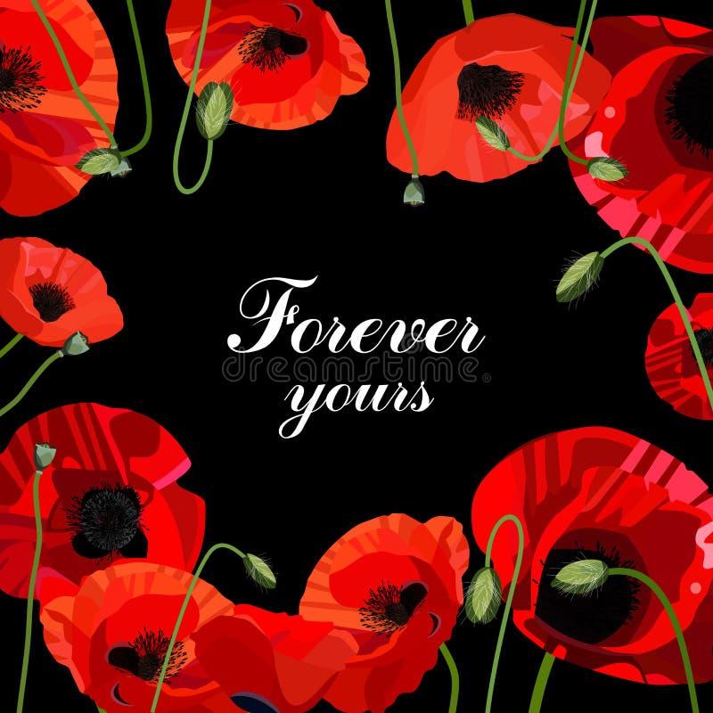 华伦泰` s与大红色花的天横幅 库存图片