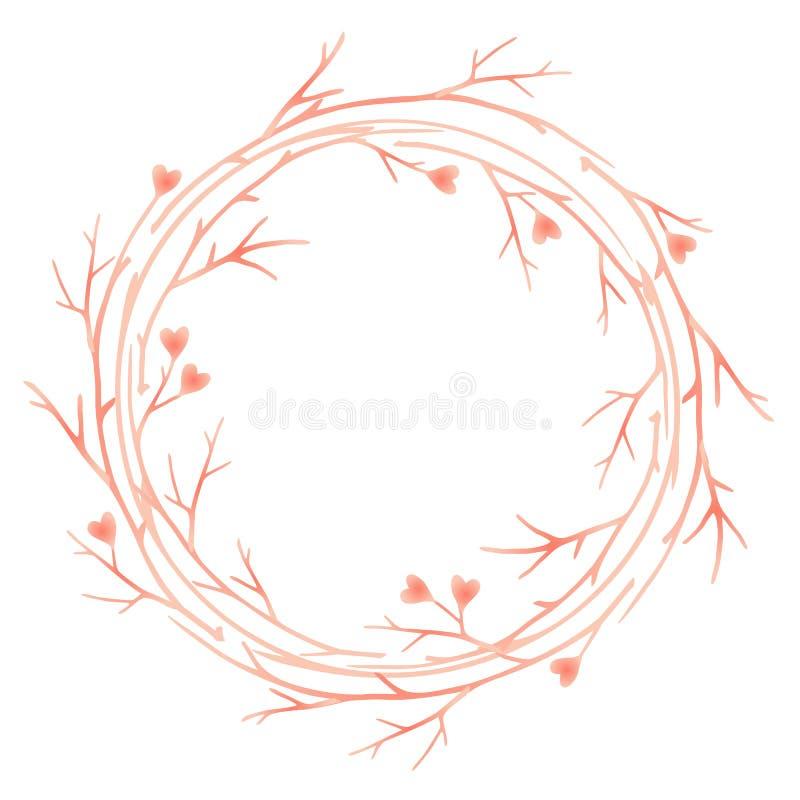 华伦泰` s与框架的天卡片从树枝和心脏 皇族释放例证