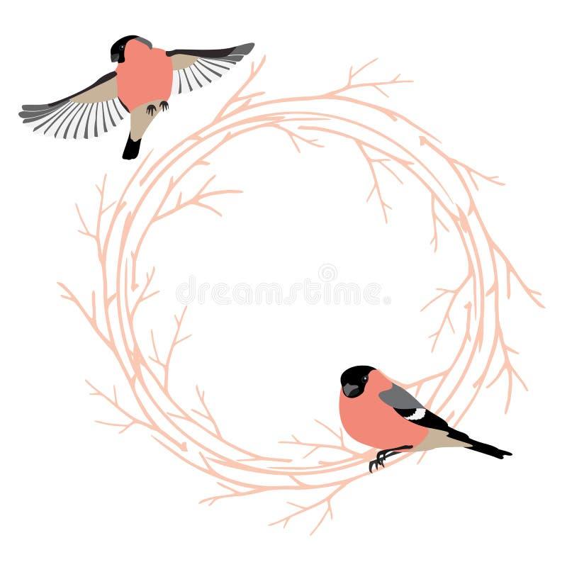 华伦泰` s与框架的天卡片从树枝和鸟 向量例证