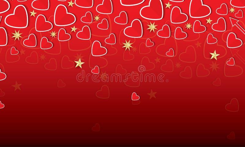 华伦泰` s与红色心脏和金黄星的天卡片 皇族释放例证