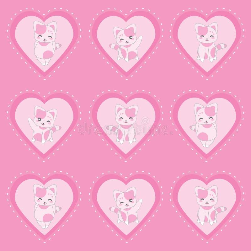 华伦泰` s与逗人喜爱的桃红色猫的天例证在桃红色爱背景 皇族释放例证