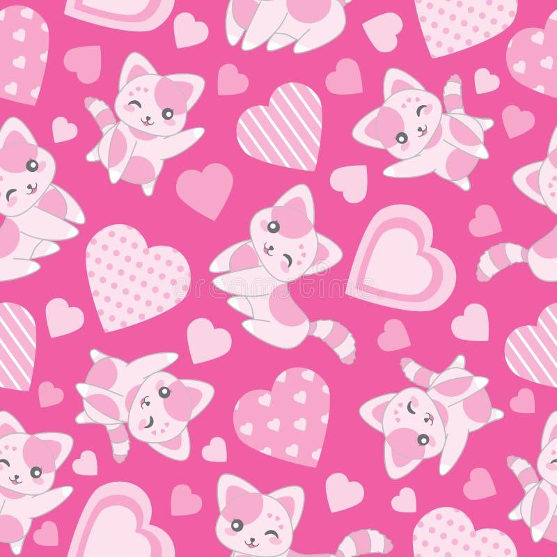 华伦泰` s与逗人喜爱的桃红色猫的天例证无缝的背景和爱在桃红色背景塑造 皇族释放例证