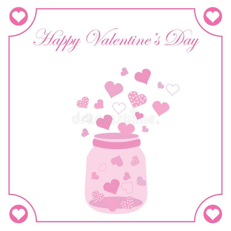 华伦泰` s与逗人喜爱的桃红色瓶的天例证在桃红色心脏框架的爱 皇族释放例证