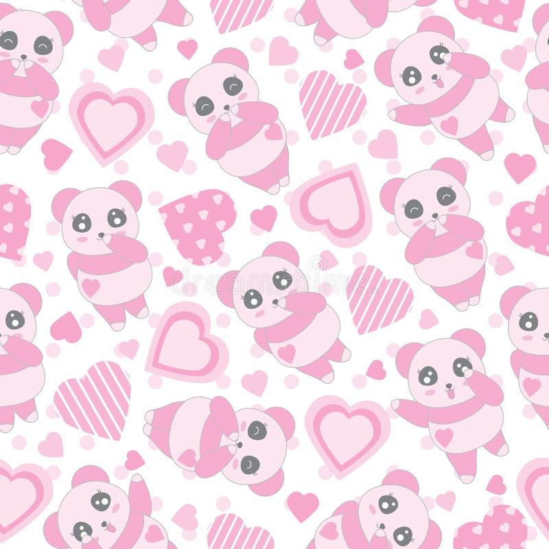 华伦泰` s与逗人喜爱的浅粉红色熊猫的天例证无缝的背景和爱在圆点背景塑造 向量例证