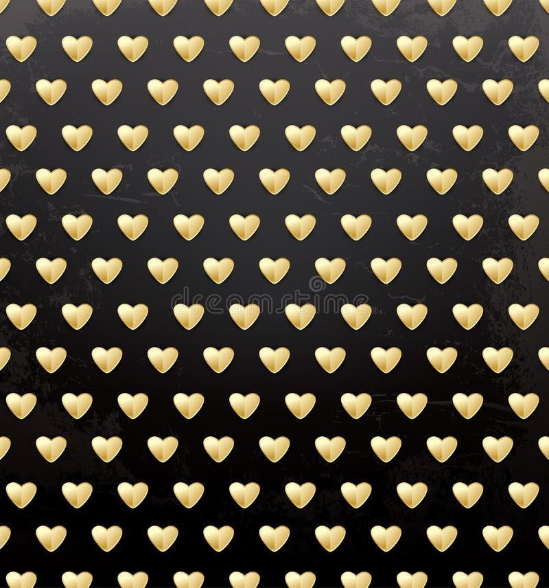 华伦泰` s与金黄心脏的天样式 皇族释放例证