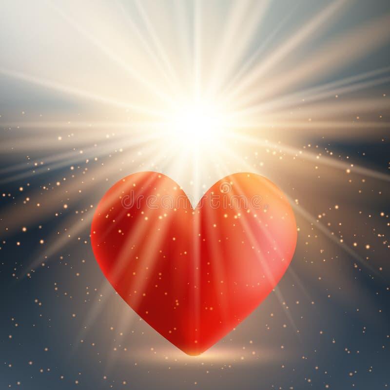 华伦泰` s在starburst背景的天心脏 库存例证