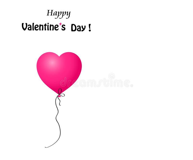 华伦泰` s天与桃红色心形的气球的贺卡 库存例证