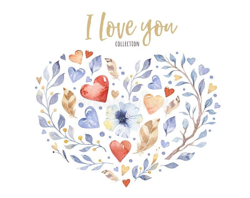 华伦泰` s天或婚礼设计的美好的花卉爱心脏形状 水彩春天美丽的花装饰 库存例证