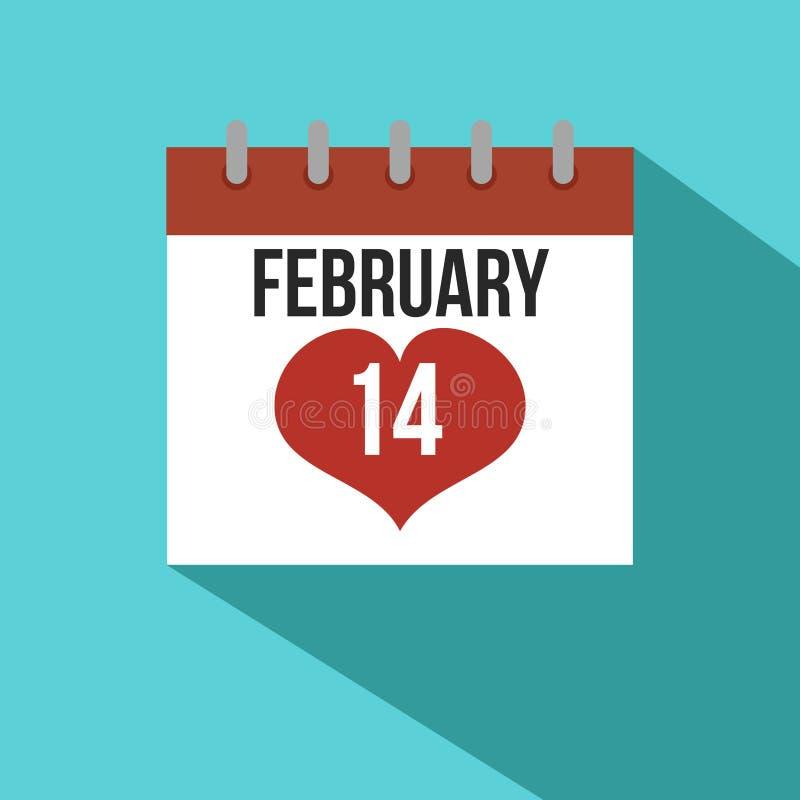 华伦泰` s天日历2月14日平的设计 向量例证