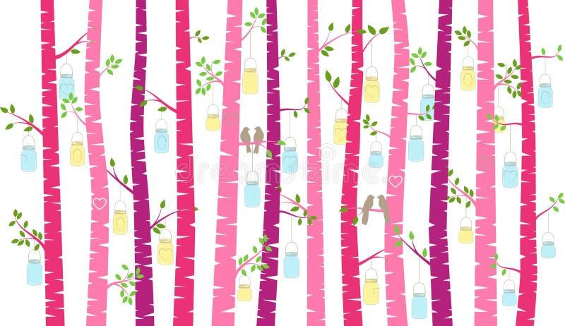 华伦泰` s天桦树或亚斯本剪影与爱情鸟和金属螺盖玻璃瓶光 向量例证
