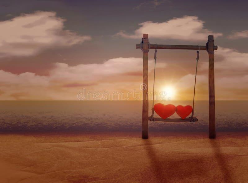 华伦泰` s天的概念 爱 在摇摆的心脏 在海滩的日落 免版税图库摄影