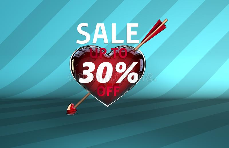 华伦泰` s天箭头心脏销售横幅 库存例证