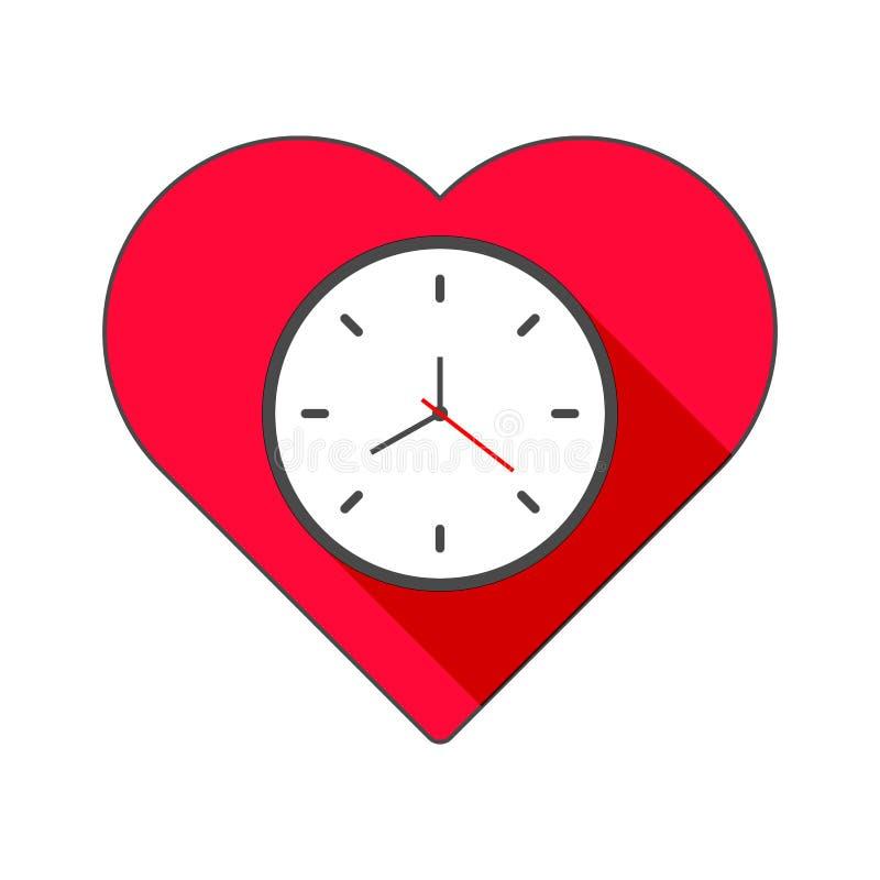华伦泰` s心脏时钟 与阴影的舱内甲板 库存例证