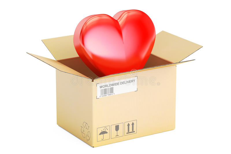 华伦泰` s日概念 有红色心脏的, 3D纸板箱回报 库存例证