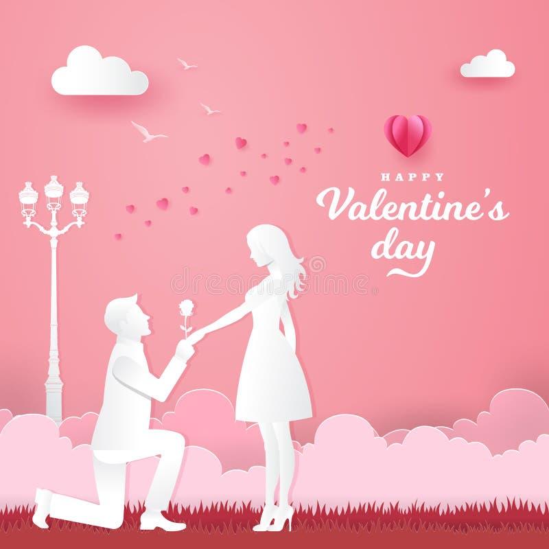 华伦泰` s日背景 下跪对他的女朋友和给在公园的年轻人一朵玫瑰 库存例证