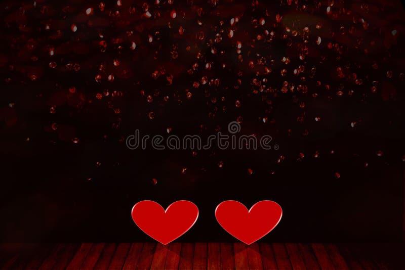 华伦泰` s日背景 在地板上的两红心 库存图片