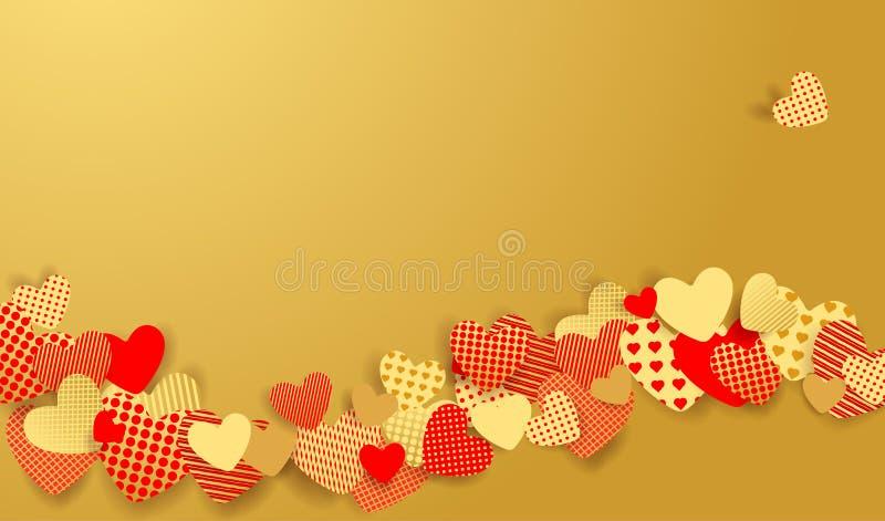 华伦泰` s日背景 红色和金纸心脏 皇族释放例证