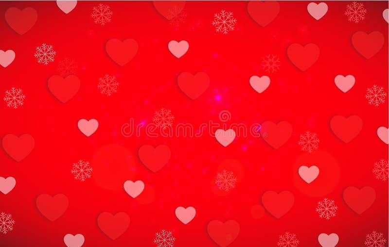 华伦泰s天心脏与红色和白色的背景样式听见 皇族释放例证